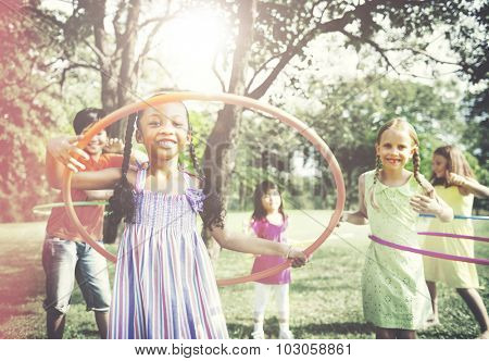Children Playing Hula Hoop Activity Concept