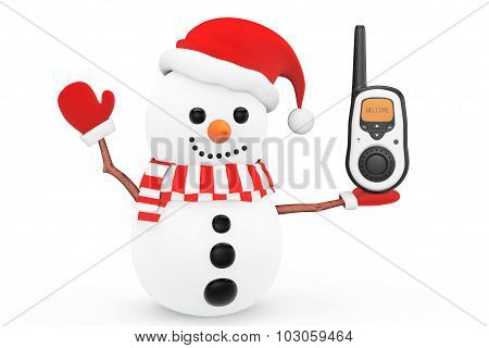 Snowman With Portable Radio Transceiver