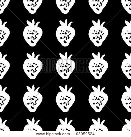 Seamless pattern of strawberries painted by hand. Textile pattern of abstract art strawberries.