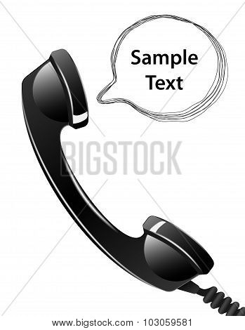 Telephone Handset With Talk Bubble Isolated On The White Background. Vector