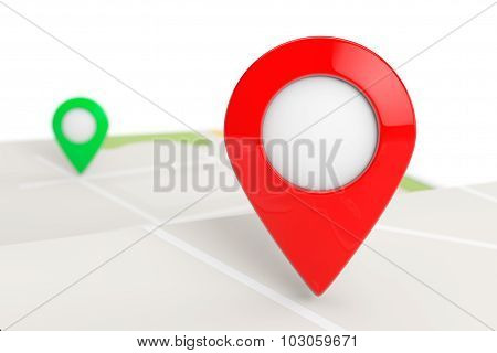 Folded Abstract Navigation Map With Target Pin