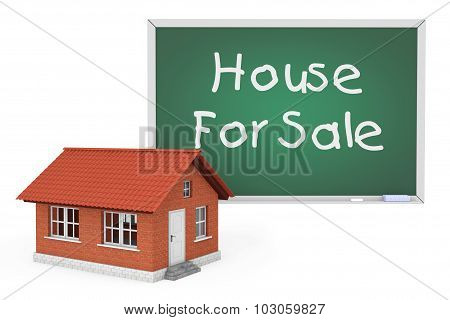 3D House With House For Sale Sign Blackboard