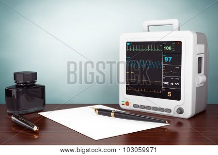 Old Style Photo. Health Care Portable Cardiac Monitoring Equipment