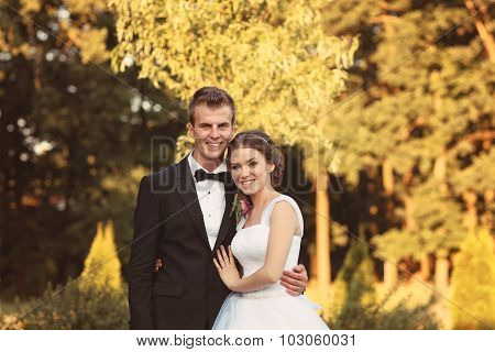 Beautiful Bridal Couple Embracing In Park