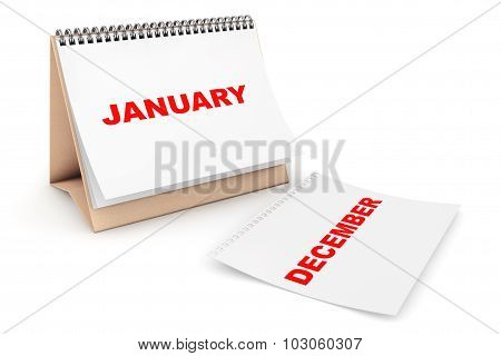 Folding Calendar With January Month Page
