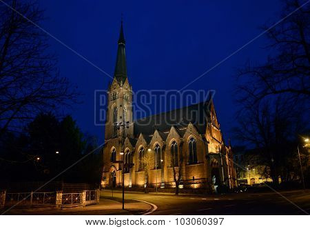 St. Elizabeth Church Is In The Night Lighting, Teplice, Czech.