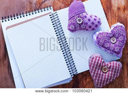 Hearts And Notebook