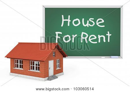 3D House With House For Rent Sign Blackboard