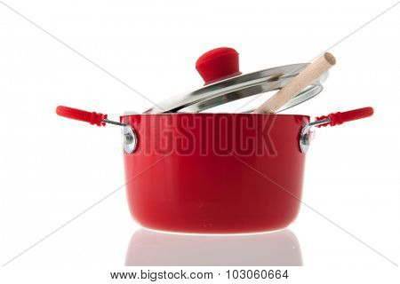 Single red pot for cooking isolated over white background
