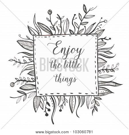 Hand drawn black ink nature frame with leaf, brunch, flower