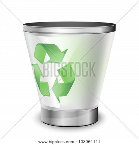 Empty Recycle Bin. Vector Icon