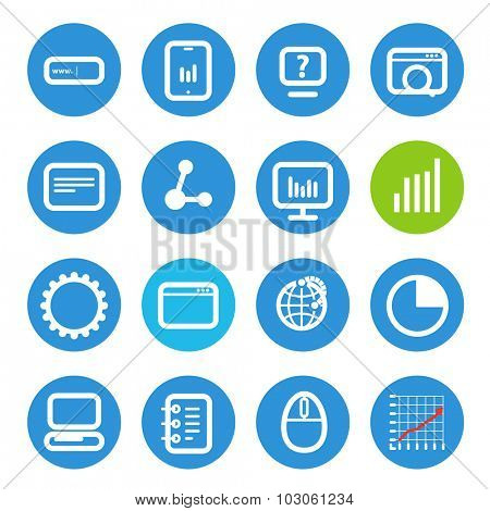 Different SEO icons set with rounded corners. Design elements