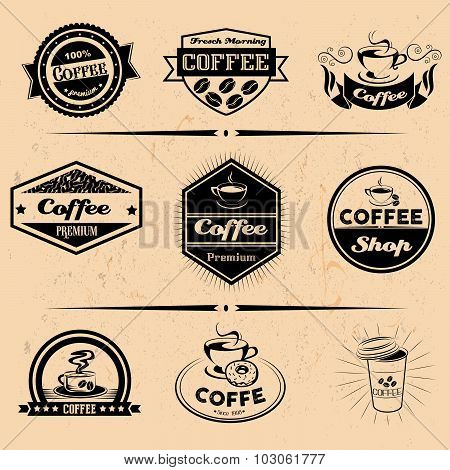 Vector set of coffee labels, design elements, emblems and badges. Isolated logo illustration in vint