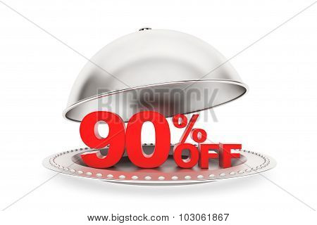 Restaurant Cloche With 90 Percent Off Sign