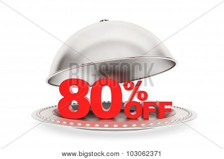 Restaurant Cloche With 80 Percent Off Sign