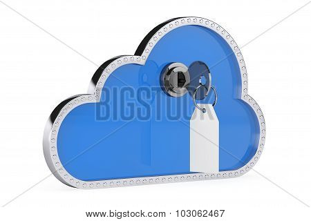 Internet Security Concept. 3D Cloud With Key And Lock
