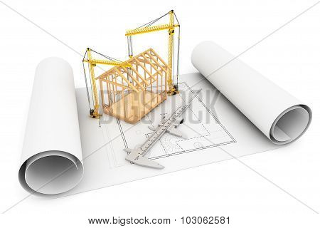 Frame House With Caliper And Hoisting Crane Over Architect Blueprint
