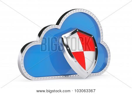 Internet Security Concept. 3D Cloud With Protection Shield