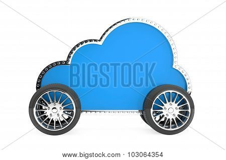 Internet Storage Concept. Cloud Icon On The Wheels