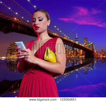 Blond woman chat writing smartphone in Brooklyn Bridge New York at night Photomount