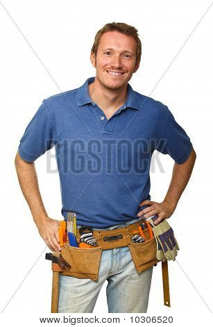 Smiling Worker On White
