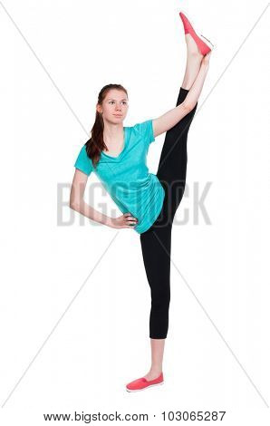 back view of standing young beautiful  woman in sportswear involved in Pilates. Rear view people collection.  backside view of person.  Isolated over white background.