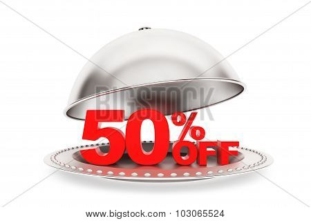 Restaurant Cloche With 50 Percent Off Sign