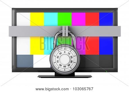Television With Test Pattern And Padlock