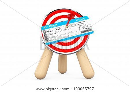 Air Ticket In Center Of Archery Target