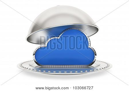 Restaurant Cloche With Cloud Computing Symbol
