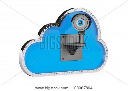 Internet Security Concept. 3D Cloud With Security Camera