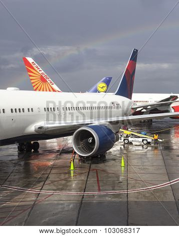 Rainbow Over Newark Liberty International Airport.
