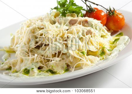 Pasta with Fried Fillet of Chicken and Parmesan Cheese