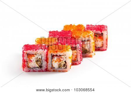 Maki Sushi - Roll made of Mussels and Crab Meat inside. Masago outside