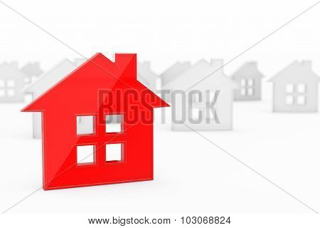 3D Red Abstract House