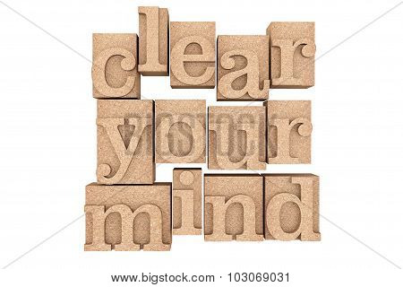 Vintage Wood Type Printing Blocks With Clear Your Mind Slogan