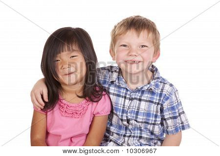 Two Kids Friends Smile