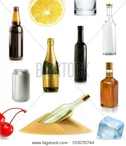 Alcohol drink in bottle, vector icons set