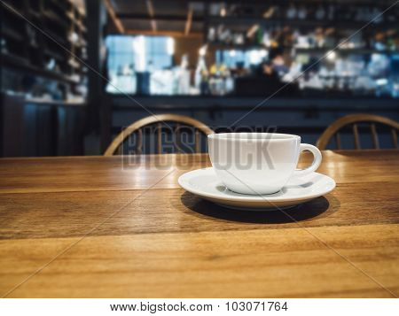 Coffee Cup On Table In Bar Restaurant Cafe