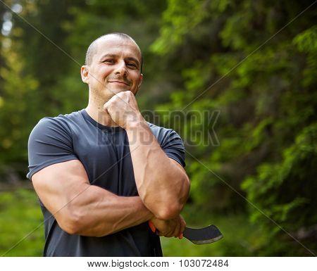 Caucasian Man With A Machete
