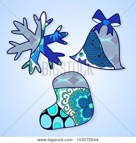 Stock Vector Christmas Decorative Isolated Snowflake, Bell And Stockingl.patchwork Design