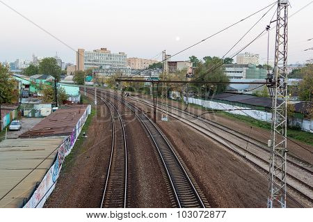Evening Railway Track Curve In City