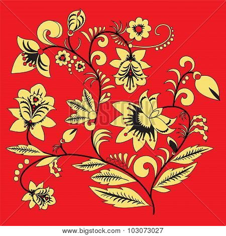 Traditional Russia Or Orient Flower Pattern. Vector Illustration