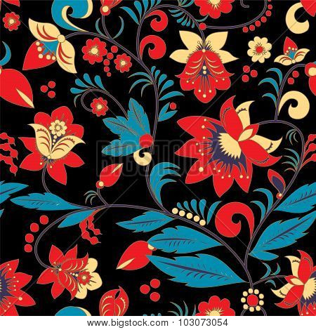 Seamless Traditional Russia Or Orient Flower Pattern. Vector Illustration