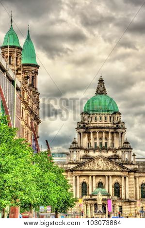 View Of Belfast City Hall From Donegall Place - Northern Ireland