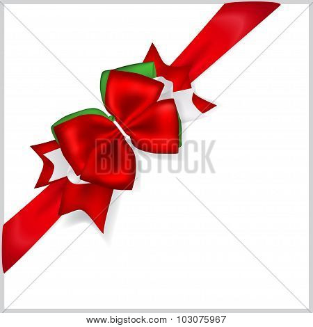 Christmas Red Bow With Diagonally Ribbon