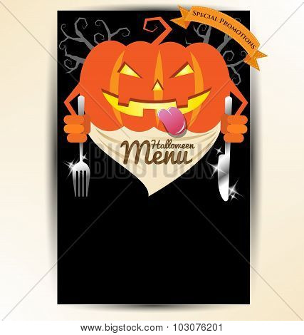 Pumpkin Holding Spoon And Knives For Halloween Party Menu