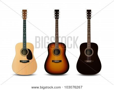 Realistic Acoustic Guitars. Vector Illustration Eps 10