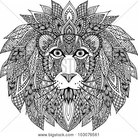Hand drawn outline lion head illustration decorated with abstract doodle zentangle ornaments