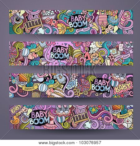 Cartoon vector hand-drawn baby boom doodles. Horizontal banners